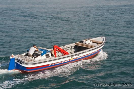 Italiener beim Bootfahren
