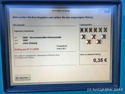 Display am Fahrscheinautomaten